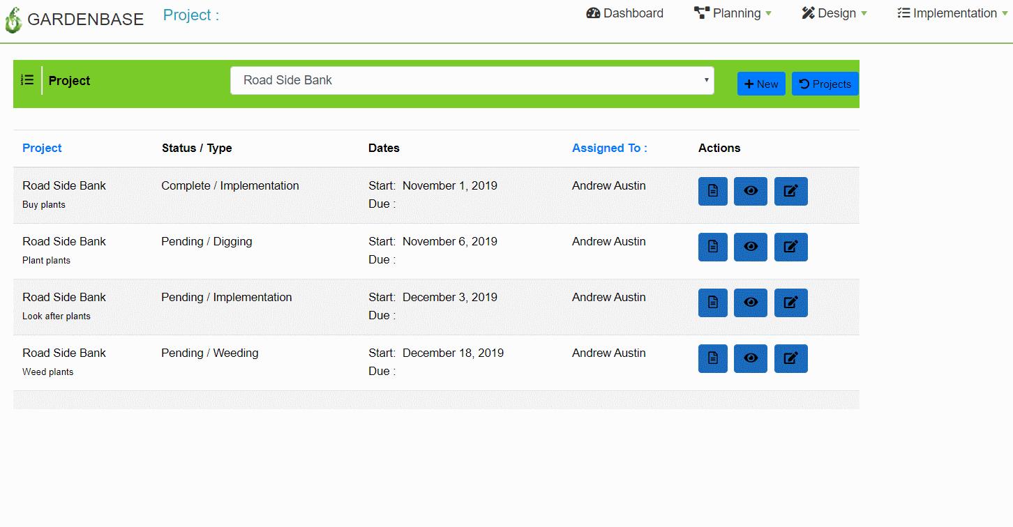Project Task List